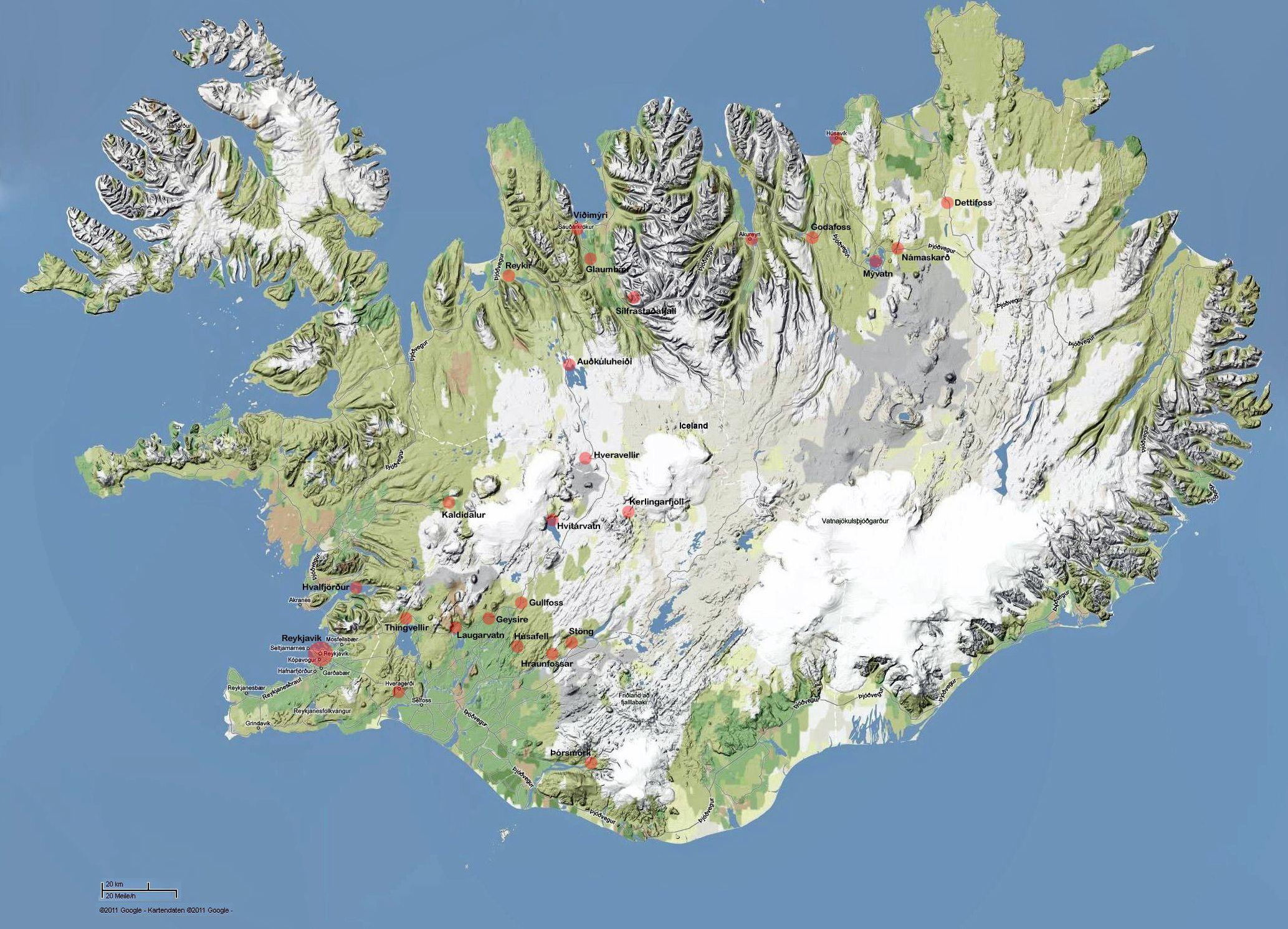 Karte Von Island Mit Den Punkten