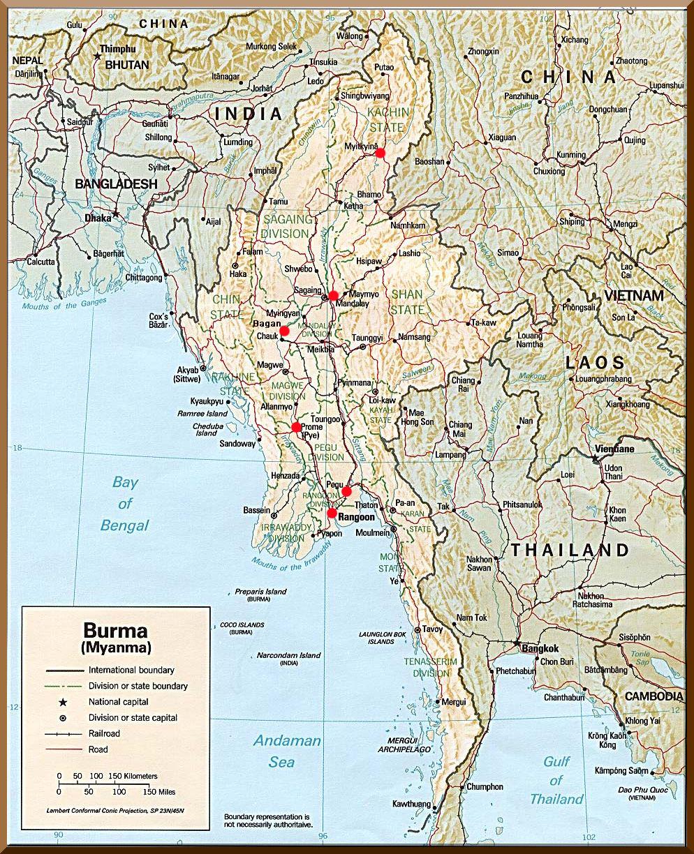 Karte Myanmar.Karte Burma Myanmar